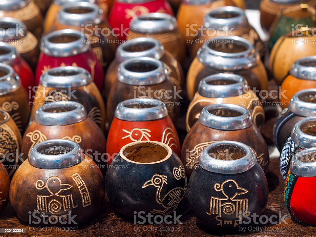 Traditional Yerba Mate Gourds from Argentina stock photo