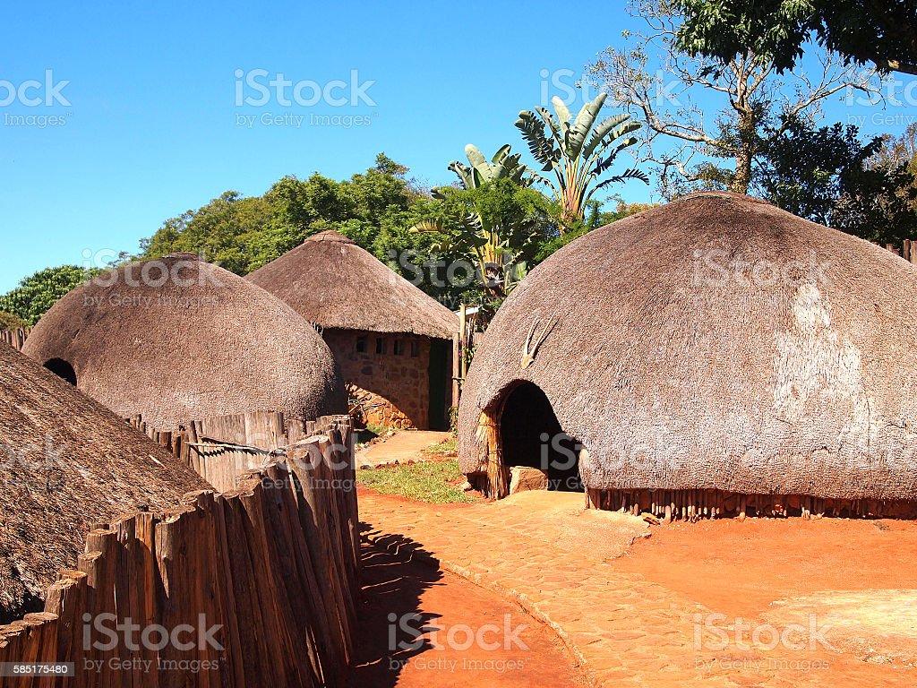 Traditional Zulu straw huts rondavels. Village in  KwaZulu-Natal stock photo