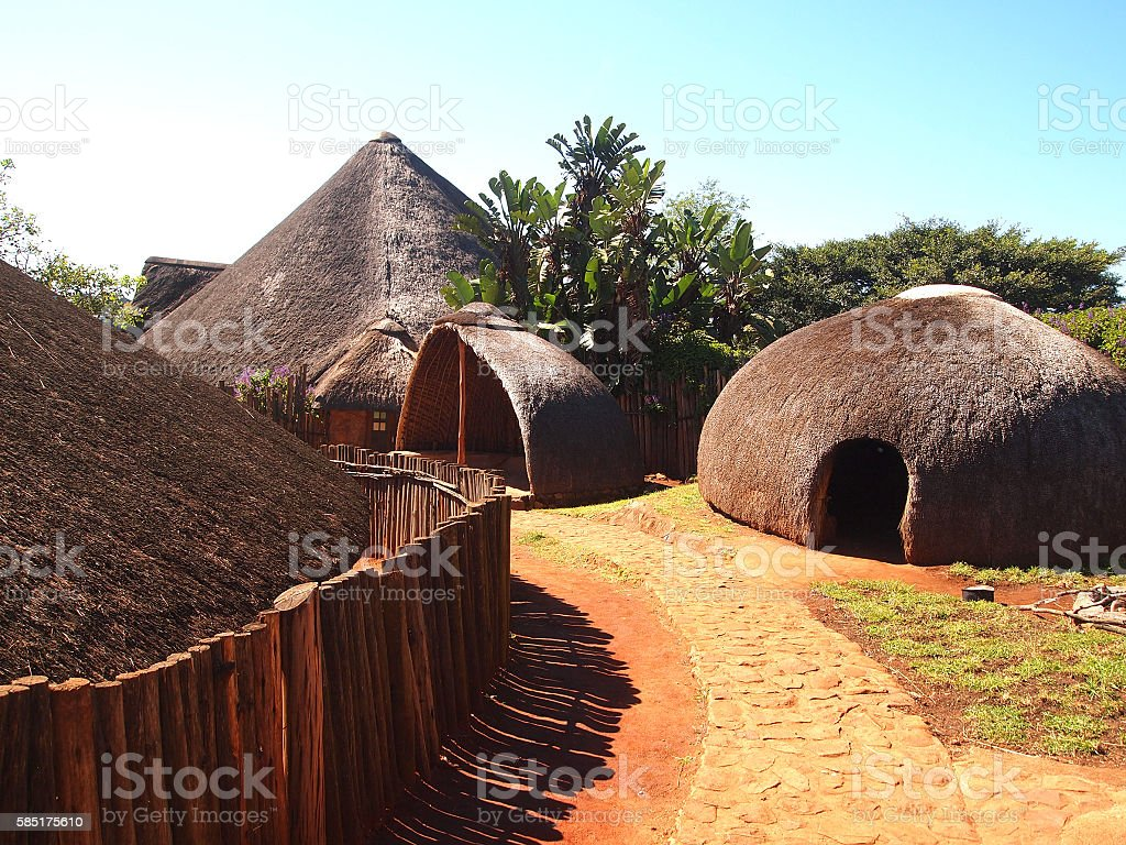 Traditional Zulu straw huts rondavels. Village in  KwaZulu-Natal stock photo