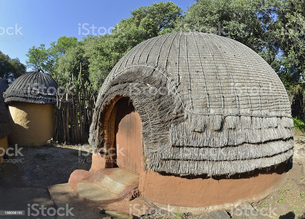 Traditional Zulu tribal hut, Africa stock photo