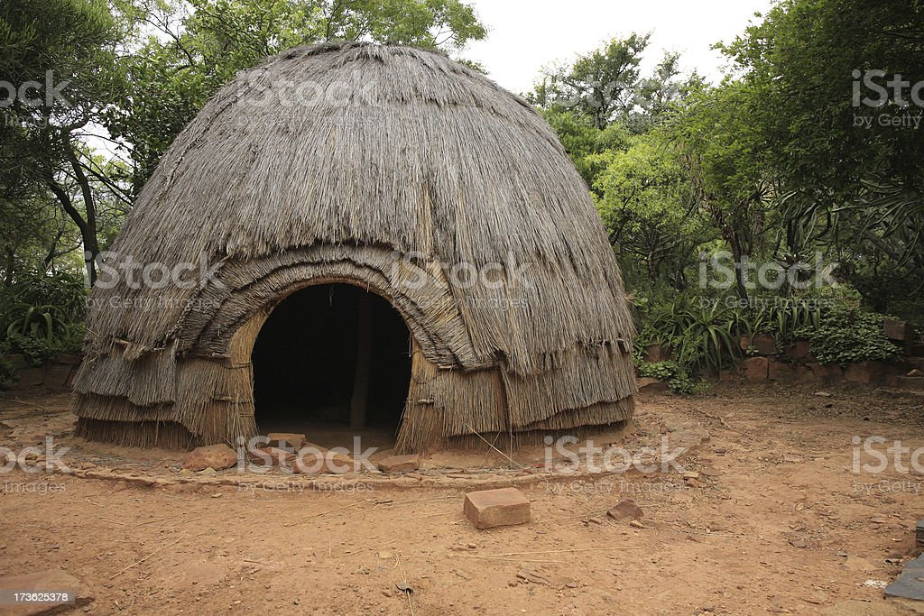 Traditional Zulu tribal hut royalty-free stock photo