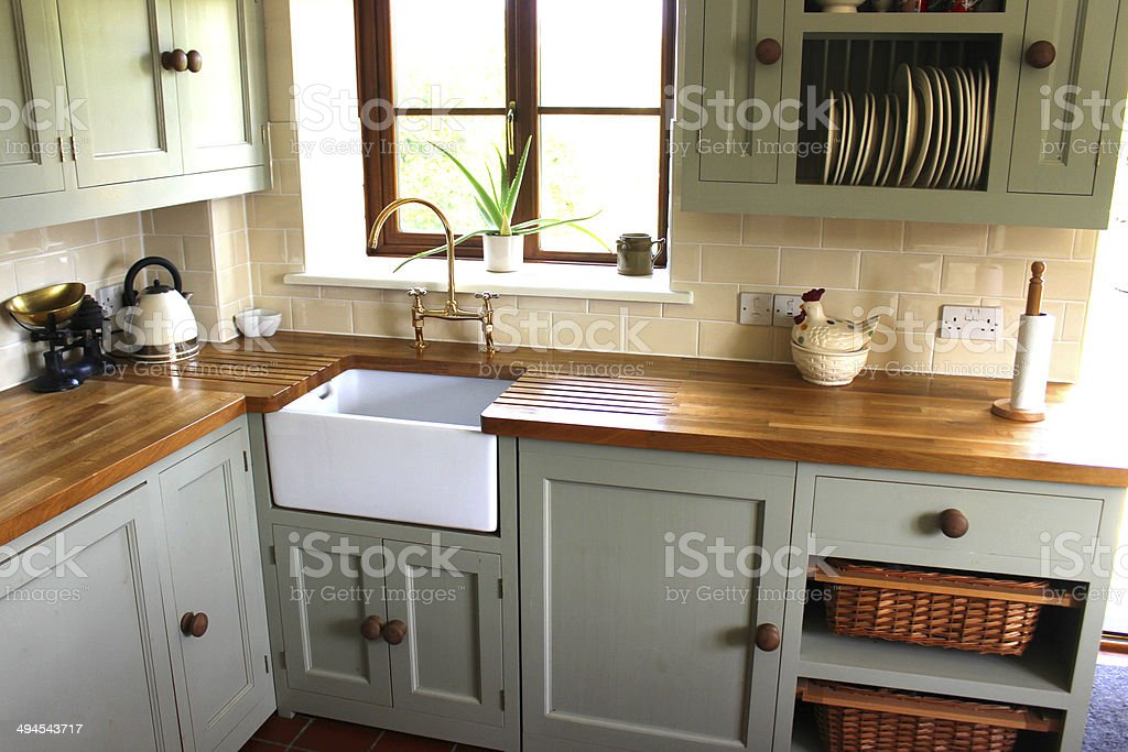 Traditional-country kitchen, kettle, wooden-worktops, Belfast / Butler sink stock photo