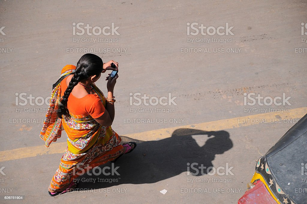Traditionally dressed on street at Jodhpur city, Rajasthan, India stock photo