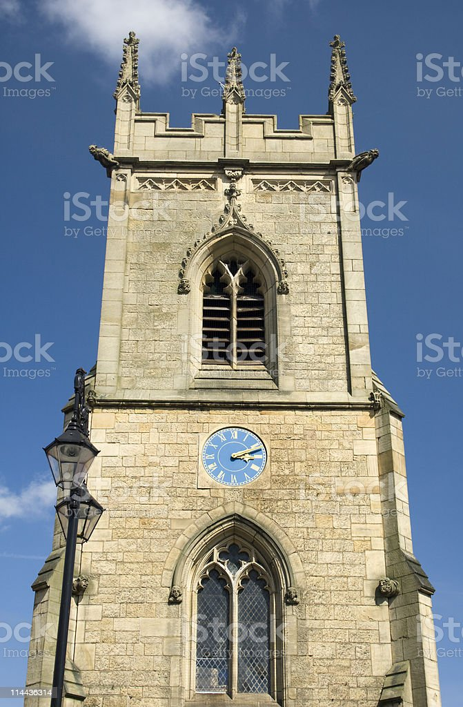 Traditionally English Church Clock Tower in Chester royalty-free stock photo