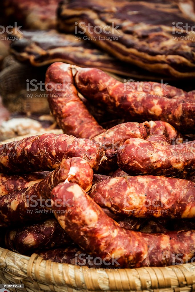 Traditionally produced smoked sausages stock photo