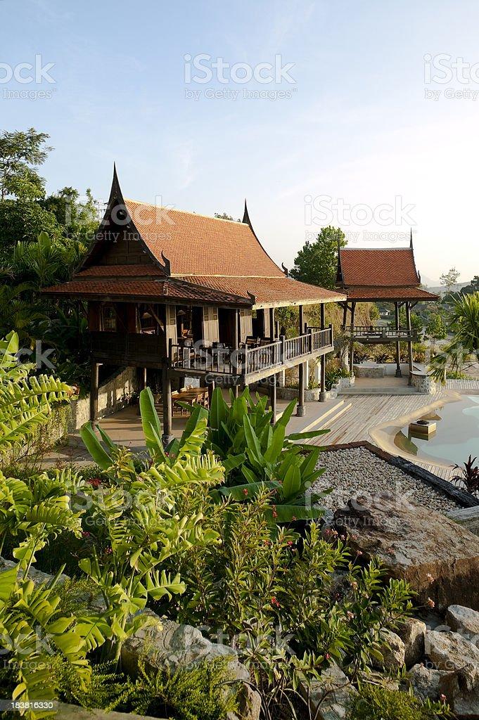 traditionally thai architecture villa house exterior royalty-free stock photo