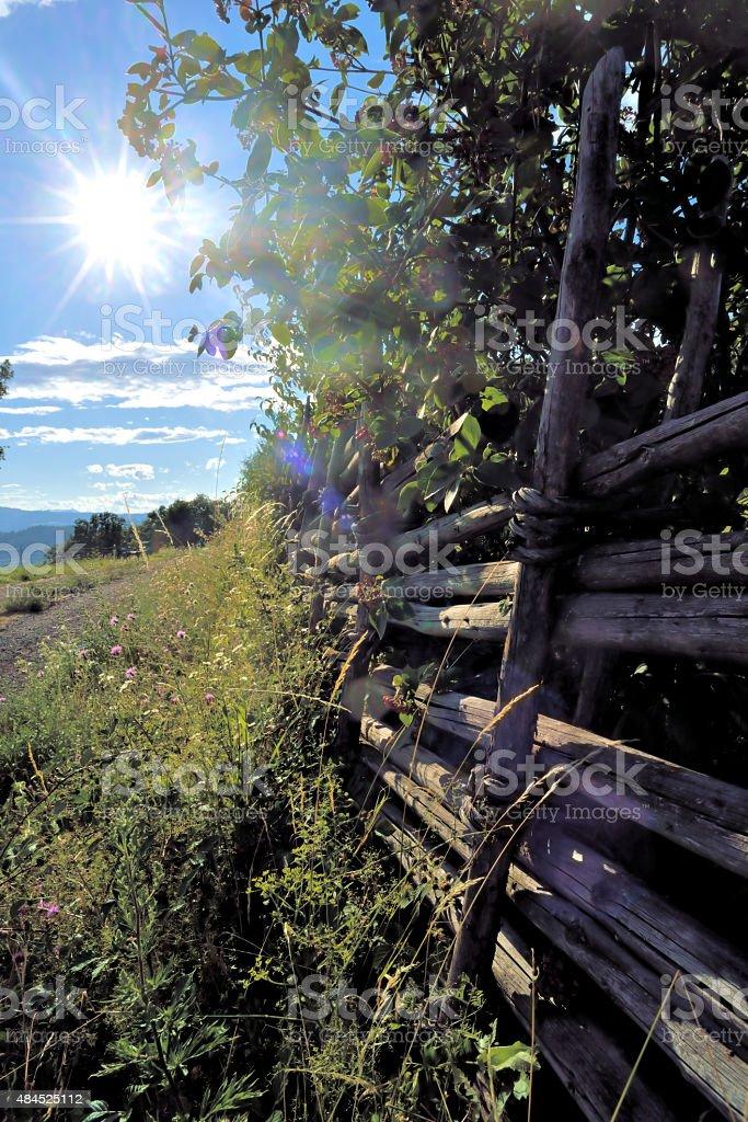 Traditioneller geflochtener Weidezaun aus Holz stock photo