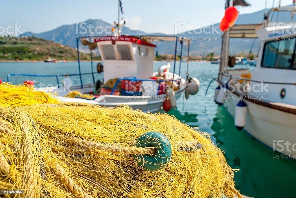 Traditionnal fishing net close-up in Palaia Epidaurus, Greece stock photo