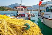 Traditionnal fishing net close-up in Palaia Epidaurus, Greece