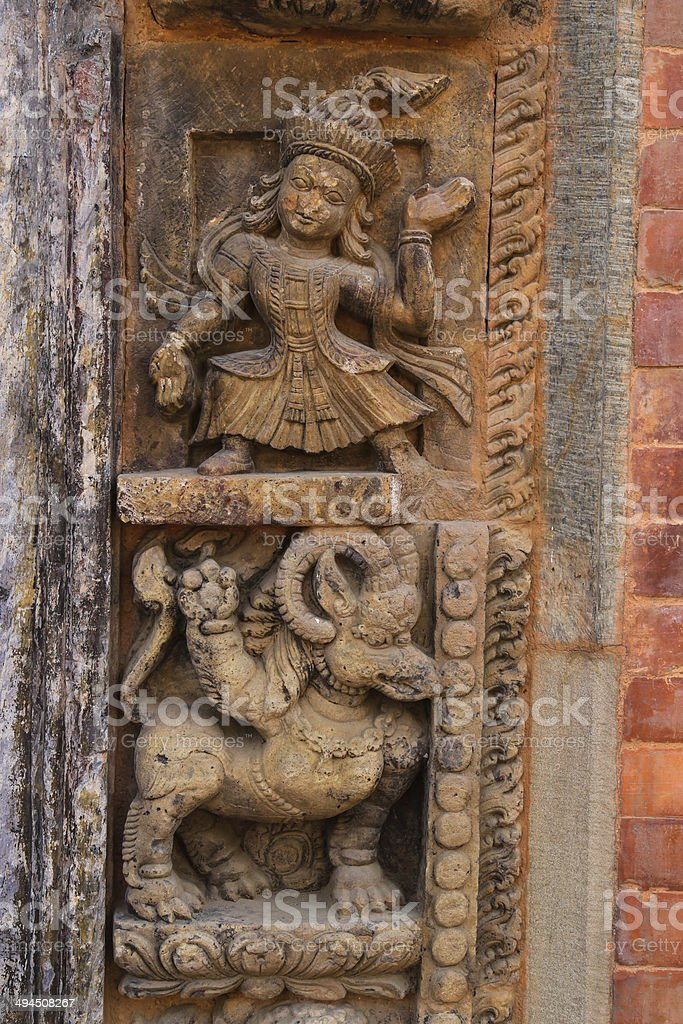 Traditonal Nepal's curving door stock photo
