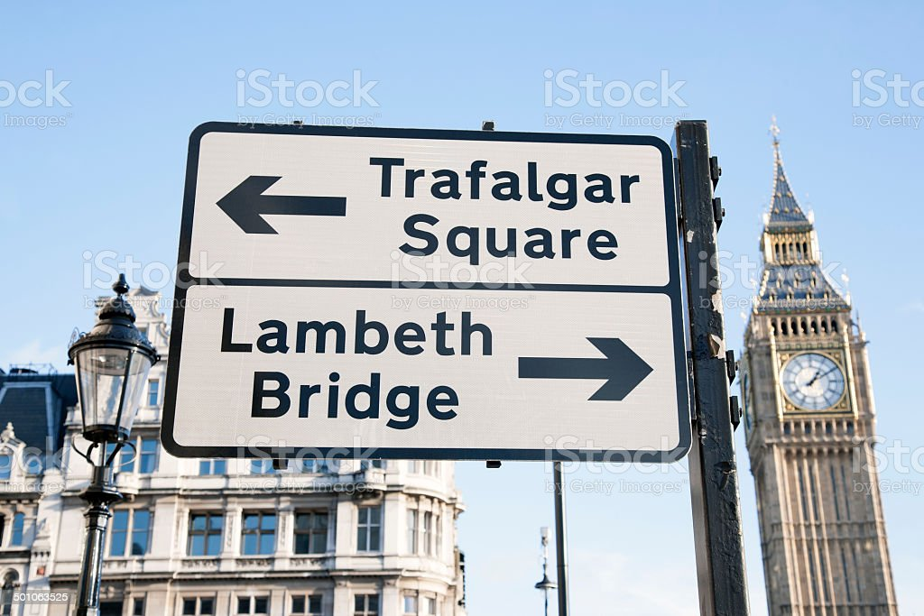 Trafalgar Square and Lambeth Birdge Street Sign, London stock photo