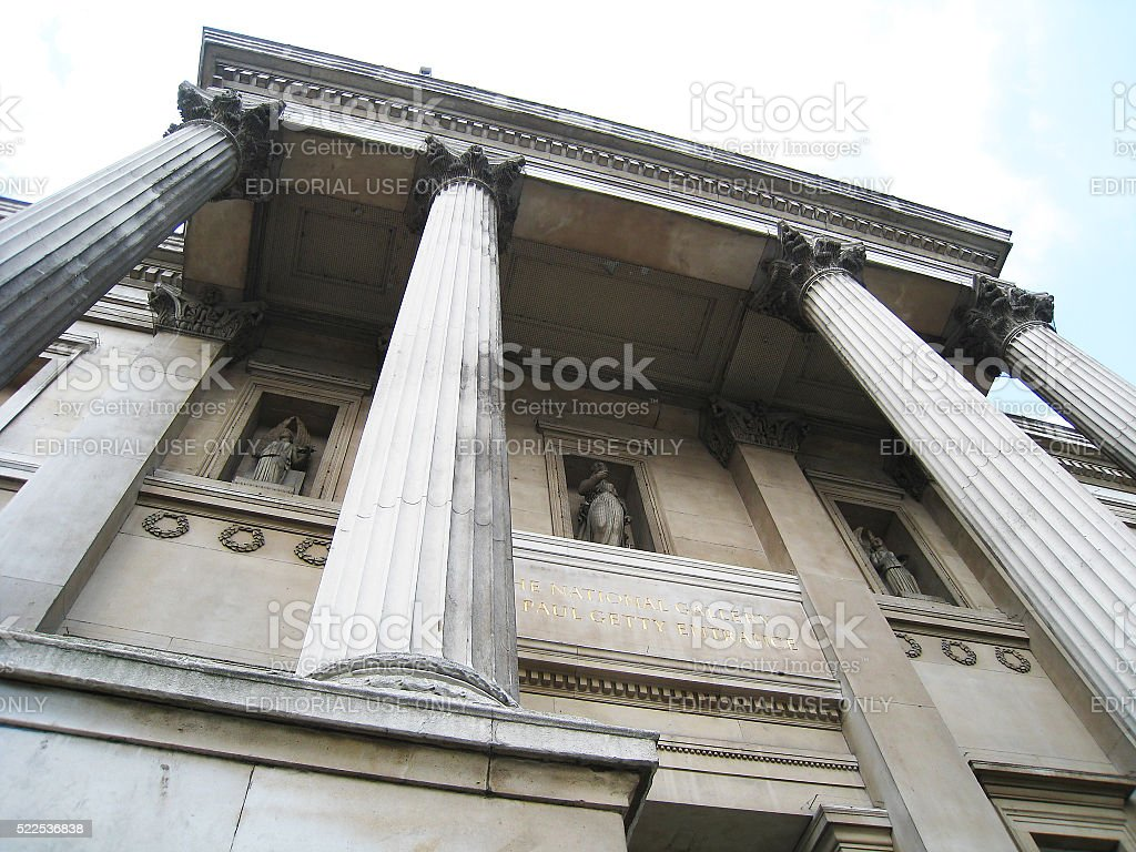 Trafalgar Square  and The National Gallery in London, England stock photo