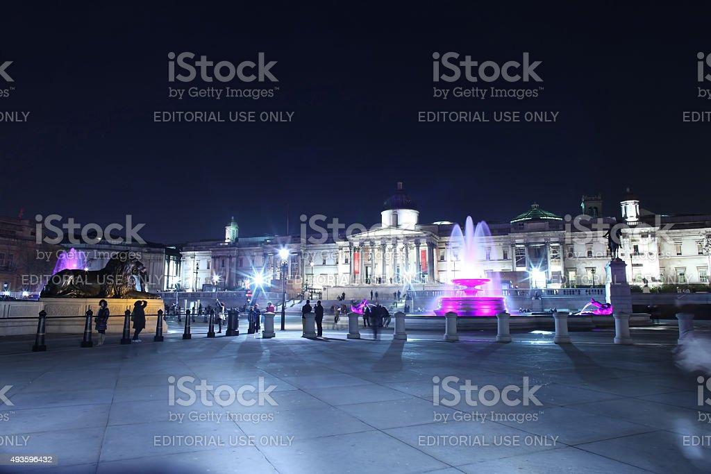 Trafalgar Square at night stock photo