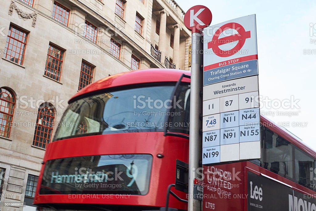 Trafalgar Square bus stop stock photo