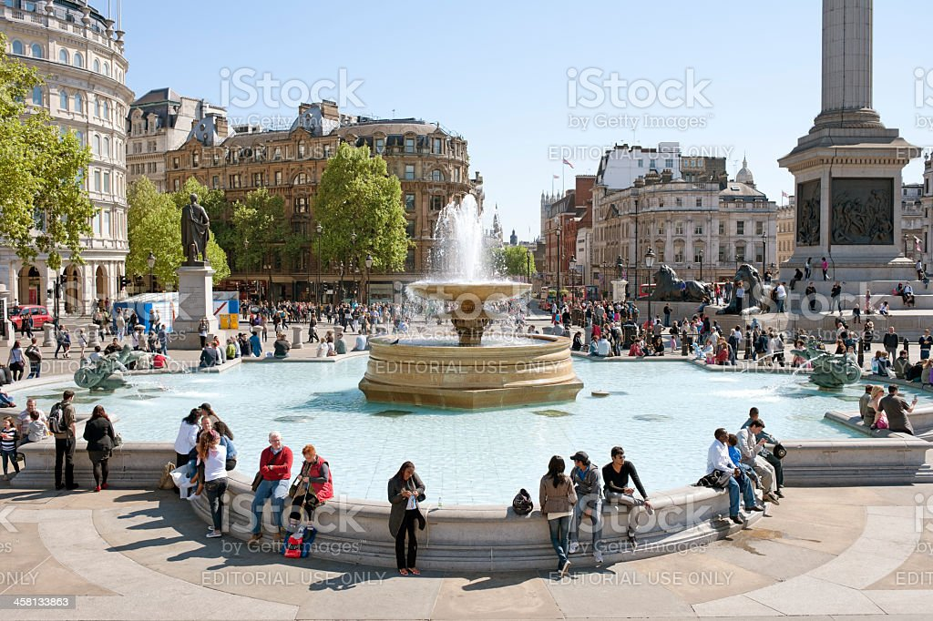 Trafalgar Square, Busy with People stock photo