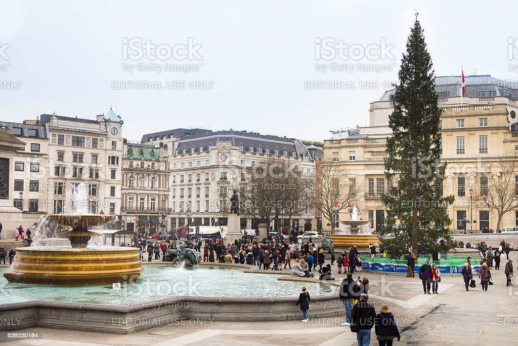 Trafalgar Square during the Christimas time, London stock photo