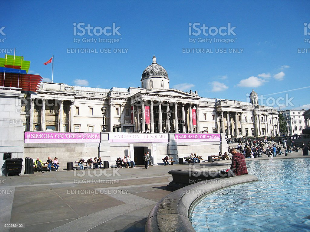 Trafalgar Square Fountain and The National Gallery in London, England stock photo