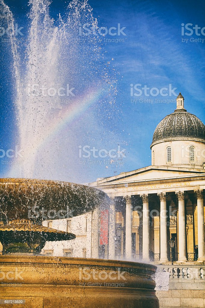 Trafalgar Square Fountain And The National Gallery stock photo