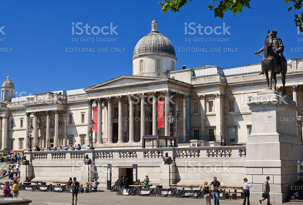 Trafalgar Square, National Gallery and King George IV Statue, London. stock photo