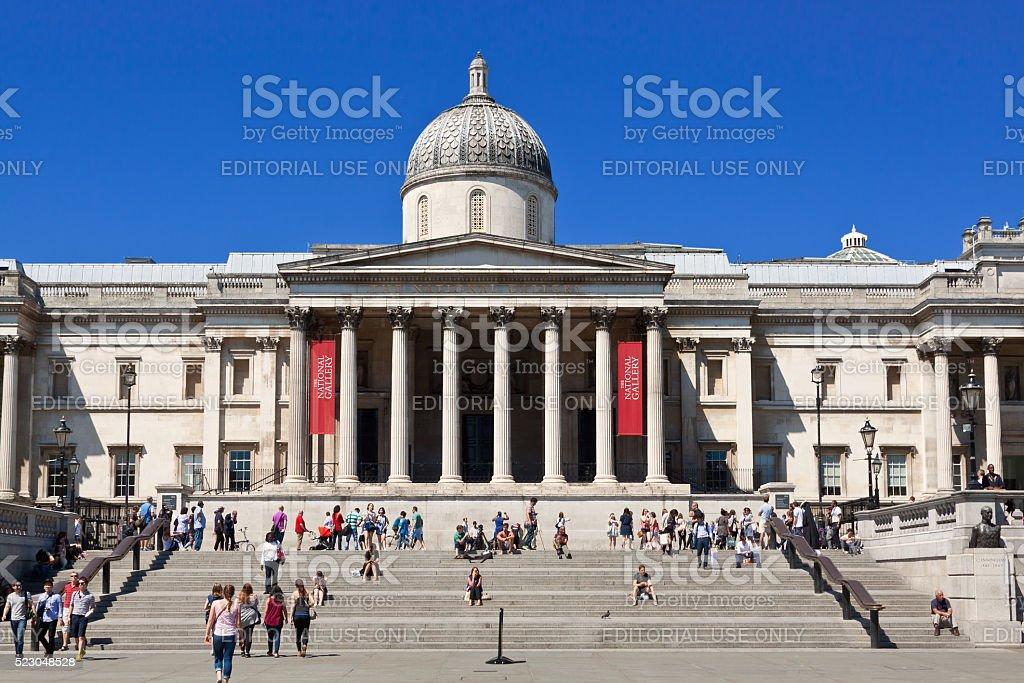 Trafalgar Square, National Gallery and Vivid Blue Sky, London, UK. stock photo