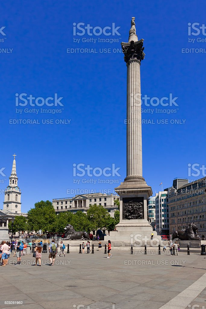 Trafalgar Square with Nelson's Column and St Martin-in-the-Fields Church, London. stock photo