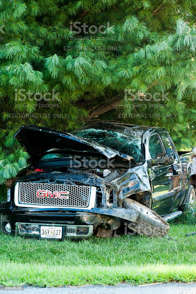Traffic accident - Pick-up Truck rollover royalty-free stock photo