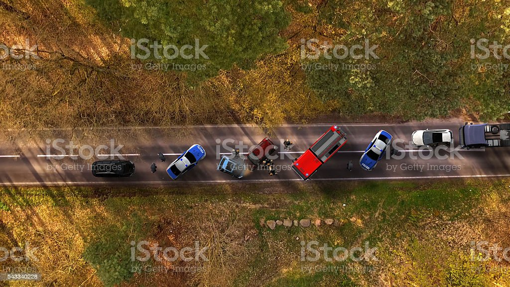 Traffic accident with vehicles on a highway aerial view stock photo