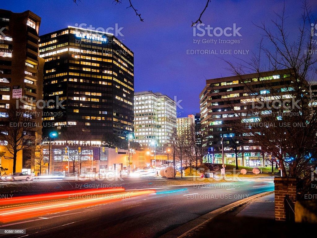 Traffic along Arlington, Virginia stock photo