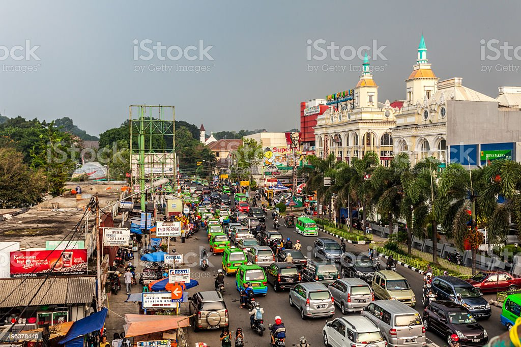 Traffic along the streets of Bogor, Indonesia stock photo
