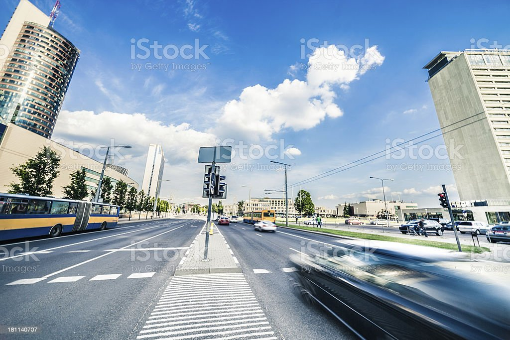 Traffic and financial skyscrapers royalty-free stock photo