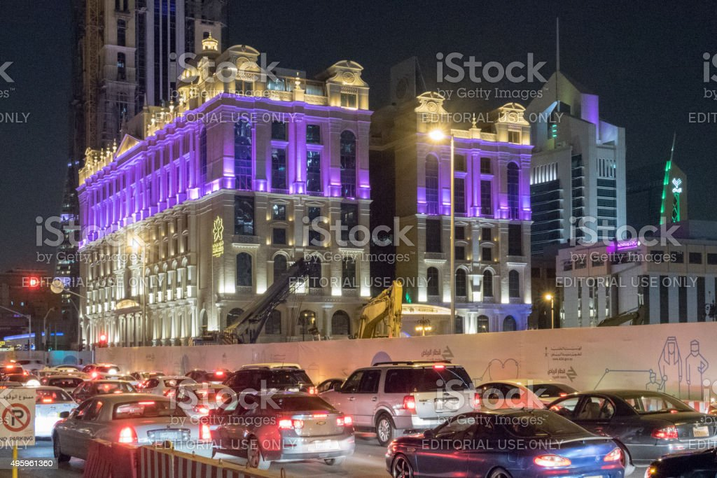 Traffic and hotel in Riyadh, Saudi Arabia stock photo
