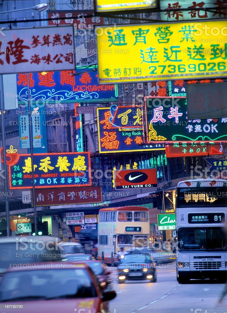 traffic and neon signs on Nathan Road Kowloon Hong Kong stock photo