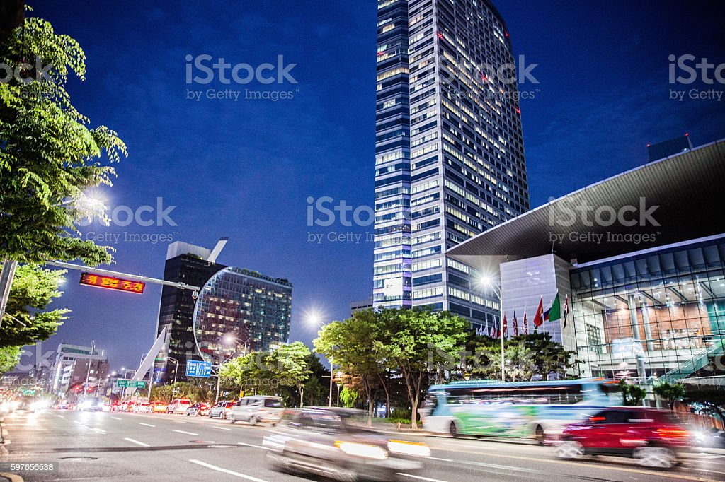 Traffic and office buildings in Seou Gangnam stock photo