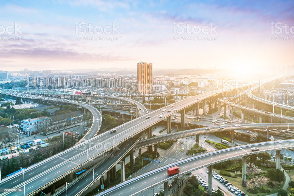 traffic and overpass stock photo
