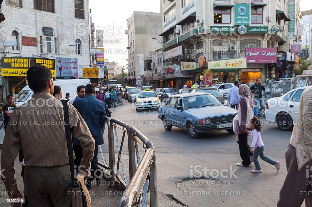 Downtown Ramallah in the West Bank stock photo