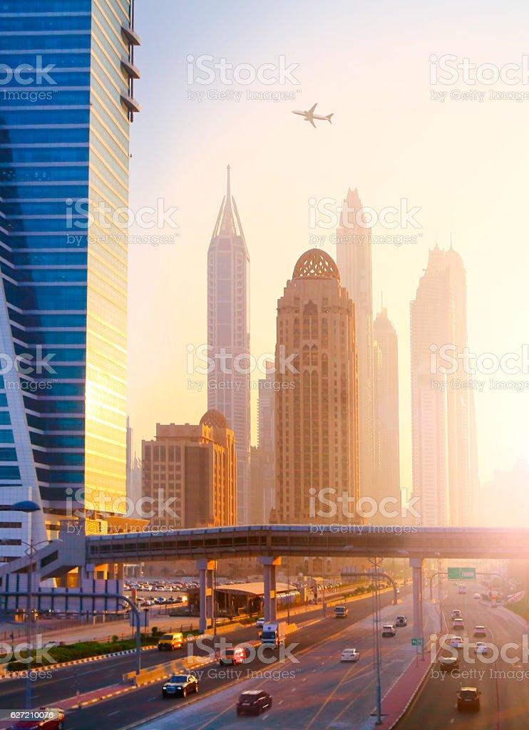 Traffic and skyscrapers in Dubai stock photo