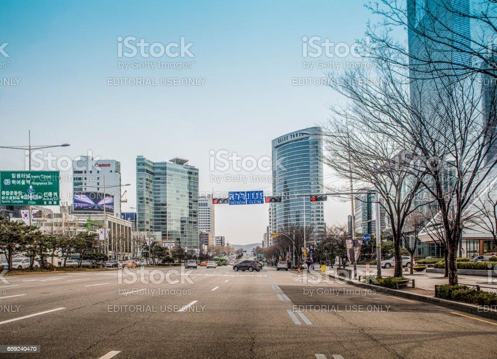 Traffic and Skyscrapers in Gangnam-gu district Seoul stock photo