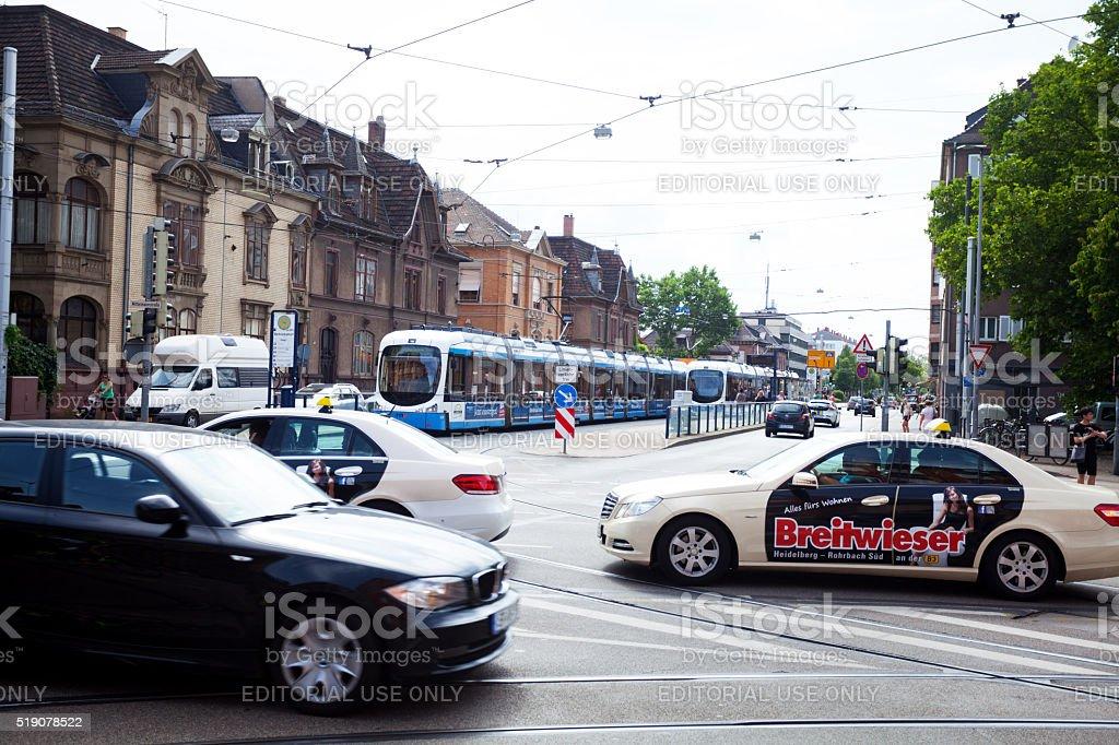 Traffic and tram stop in street Mittermaierstraße stock photo