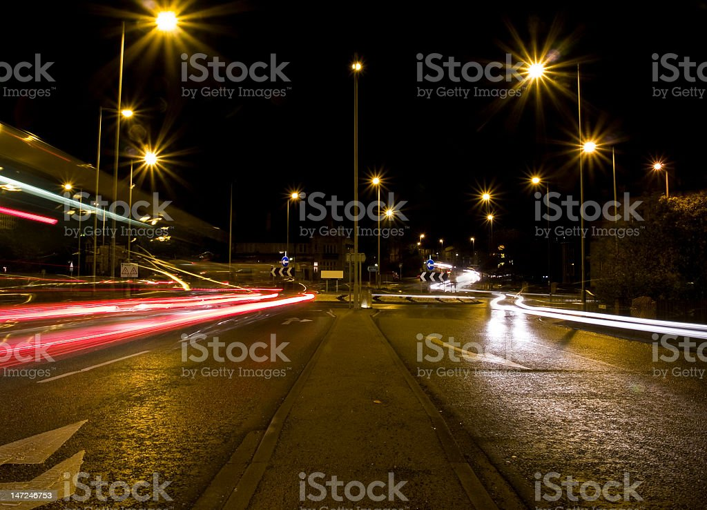 Traffic at a Roundabout stock photo