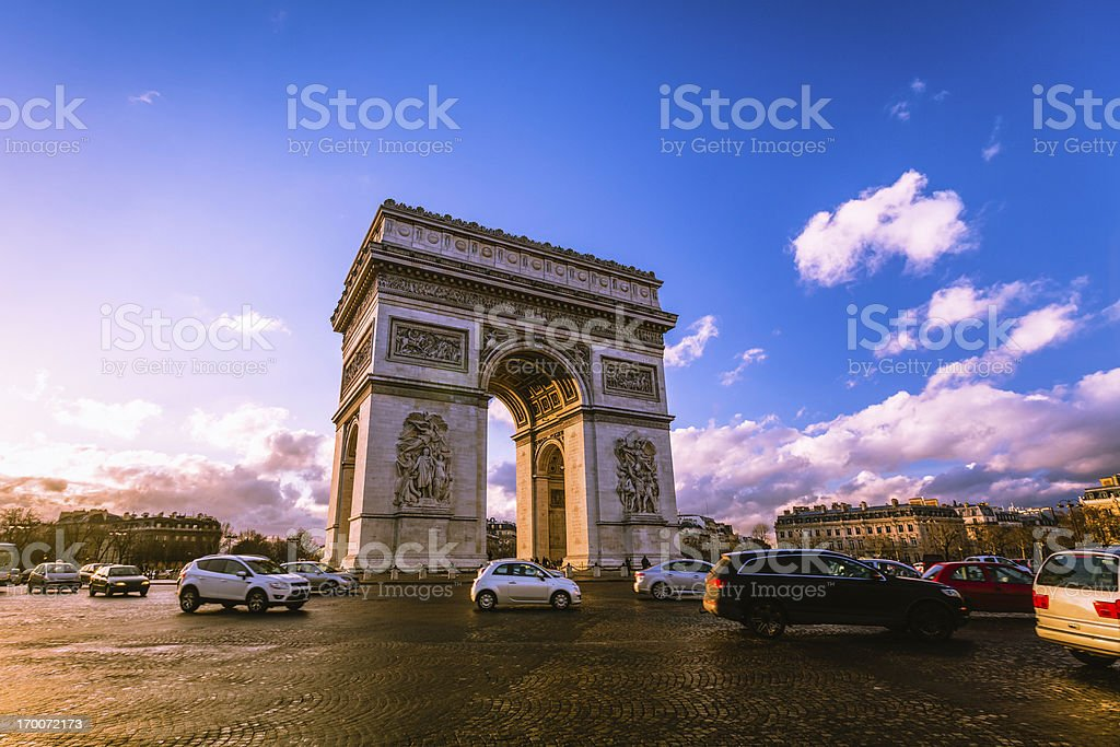 Traffic at Arc de Triomphe Paris stock photo