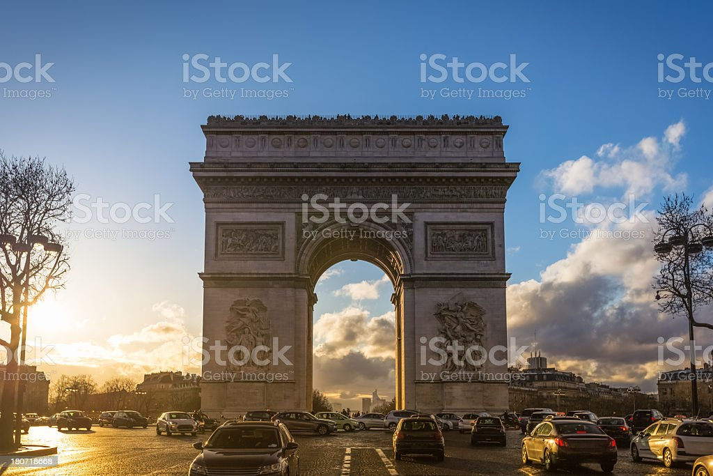 Traffic at Arc de Triomphe Paris royalty-free stock photo