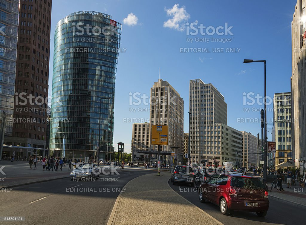 traffic at Berlin Potsdamer Platz stock photo
