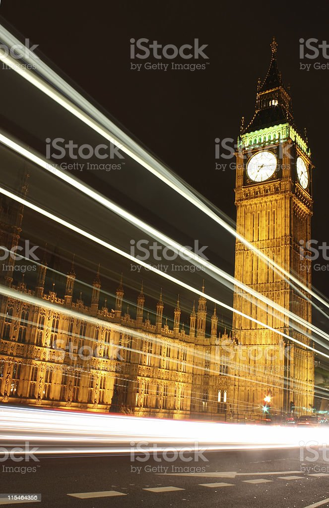Traffic at Big Ben royalty-free stock photo