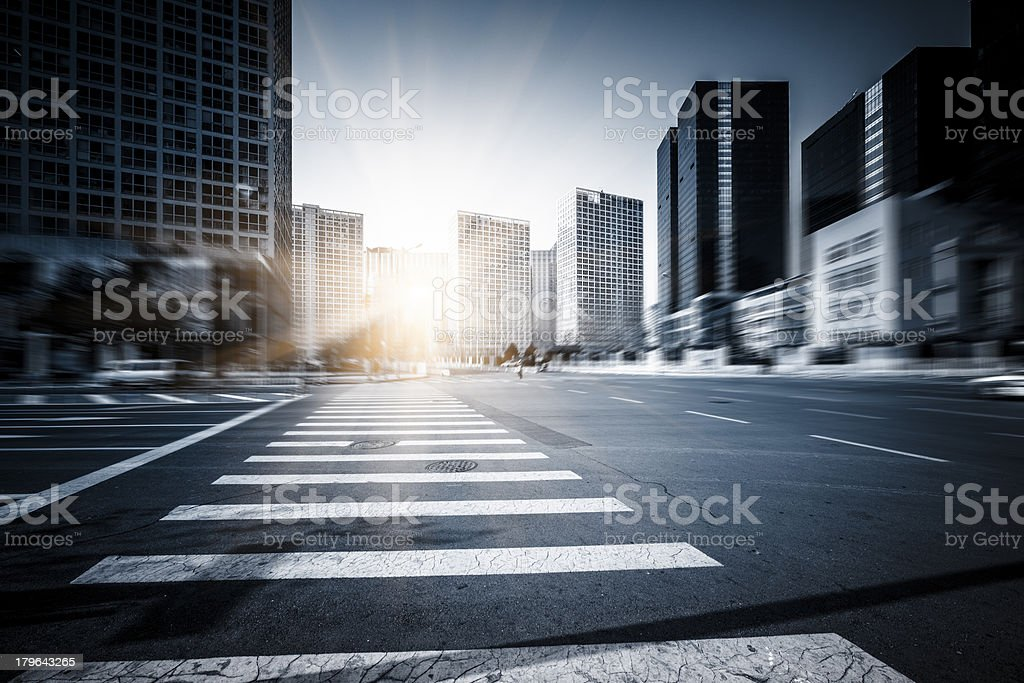 Traffic at  Business District royalty-free stock photo
