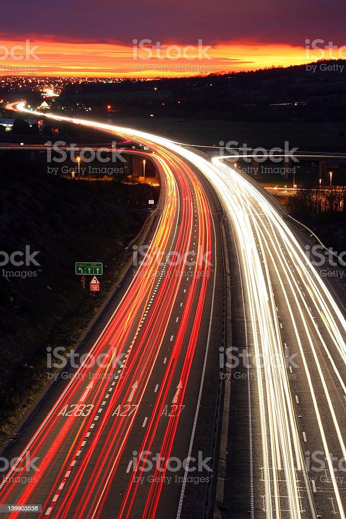 Traffic at dusk. royalty-free stock photo