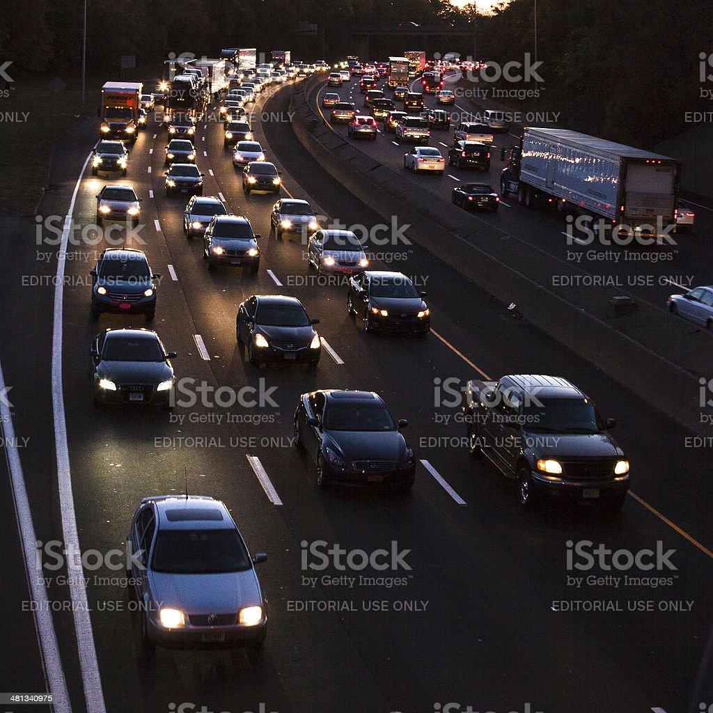 traffic at dusk stock photo