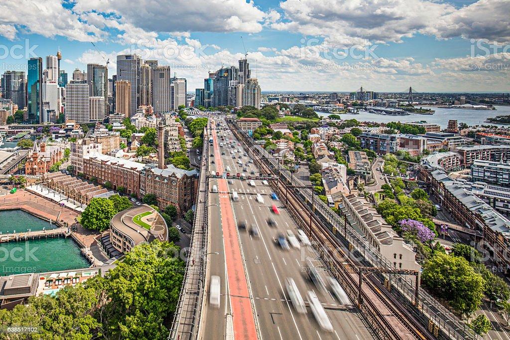 Traffic at Harbour Bridge in Sydney stock photo