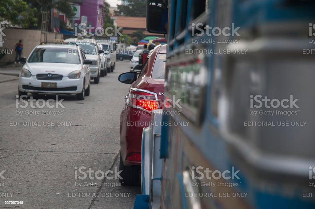 Traffic at Lapu-Lapu Street in Davao stock photo