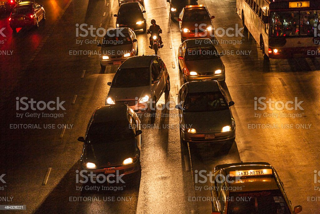 traffic at Main Road in Bangkok at night royalty-free stock photo