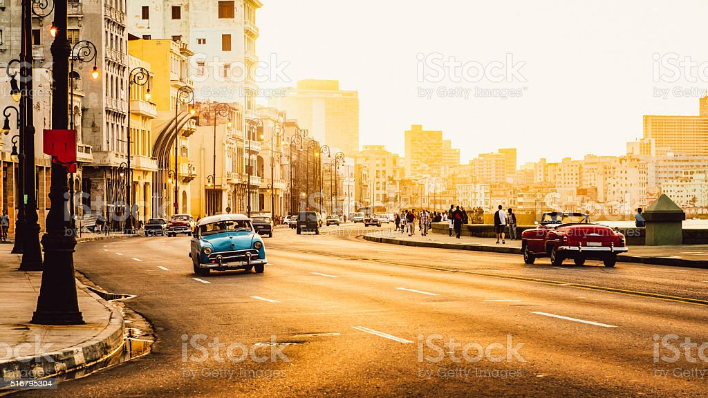 Traffic at Malecon, Havana, Cuba stock photo